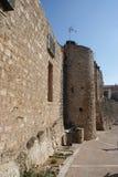 Pared medieval vieja Magalas del castillo Imagenes de archivo