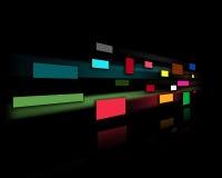 Pared negra con rectángulos coloreados Foto de archivo libre de regalías