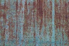 Pared pintada azul aherrumbrada del metal Imagen de archivo libre de regalías