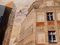Pared pintada de una casa, Halle, Alemania imagen de archivo