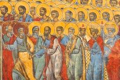 Pared pintada del monasterio de Voronet Fotos de archivo