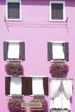 Pared pintada rosa con varias ventanas Fotos de archivo