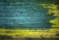 Pared pintada verde y amarilla de la vendimia Fotos de archivo