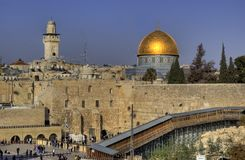 Pared que se lamenta en Jerusalén foto de archivo