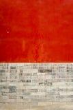 Pared roja y textura gris del fondo de la pared de ladrillo Fotos de archivo libres de regalías