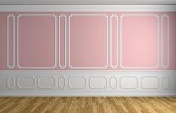 Pared rosada en fondo arquitectónico del sitio vacío clásico del estilo stock de ilustración