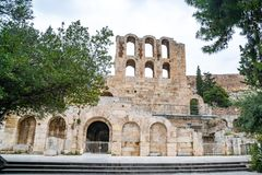 Pared septentrional de Athene Amphitheater, Grecia imagenes de archivo