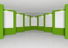 Pared verde en la galería Foto de archivo