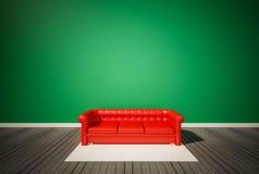 Pared verde y piso de madera oscuro, con el sofá rojo y la alfombra blanca, renderd 3d Fotos de archivo