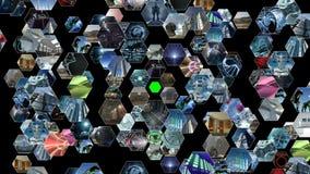 Pared video animada con el modelo del panal con la pantalla verde 4K stock de ilustración