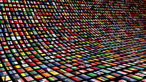 Pared video animada con las banderas de muchas naciones 4K Lazo-capaz ilustración del vector