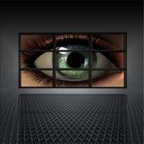 Pared video con el ojo de la muchacha Imágenes de archivo libres de regalías