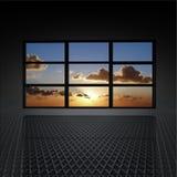 Pared video con las nubes y el sol encendido Imagenes de archivo