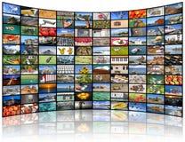 Pared video de la pantalla de la TV Foto de archivo libre de regalías