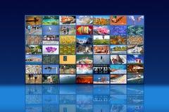 Pared video de las multimedias grandes con pantalla grande fotografía de archivo