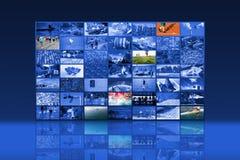 Pared video de las multimedias grandes con pantalla grande foto de archivo libre de regalías