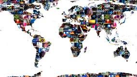 Pared video global del mapa de la tierra medios ilustración del vector