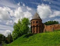 Pared vieja de la abadía benedictina en Jaroslaw polonia Fotos de archivo