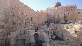 Pared vieja de la fortaleza de la ciudad de Jerusalén en Israel fotos de archivo libres de regalías