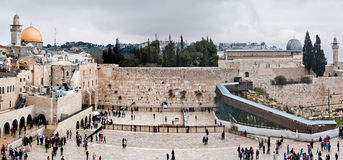Pared y la Explanada de las Mezquitas occidentales en Jerusalén, Israel Imagen de archivo