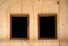Pared y marcos del revestimiento de madera Imagen de archivo