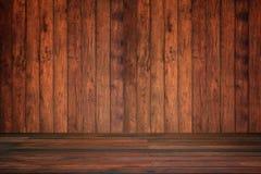 Pared y piso de madera en la opinión de perspectiva, fondo del grunge FO fotos de archivo