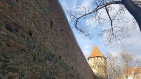 Pared y torre de la fortaleza Fotos de archivo libres de regalías