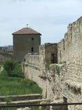 Pared y torre del castillo Fotografía de archivo