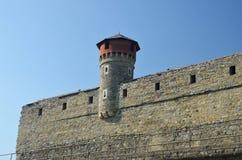 Pared y torre medievales del castillo Foto de archivo libre de regalías