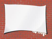 A parede é um tijolo com papel para inscrição ilustração do vetor