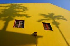 Parede amarela em pouco India, Singapore Fotografia de Stock