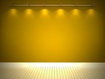 Parede amarela iluminada e assoalho branco Foto de Stock