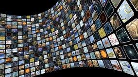 Parede animado da imagem com muitos ícones na tela Laço-capaz 3D que rende 4k vídeos de arquivo