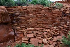 Parede antiga das ruínas Monumento nacional de Wupatki no Arizona Imagens de Stock