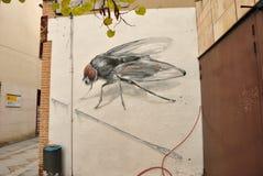 Parede-arte urbana da mosca em Zamora, Espanha imagens de stock