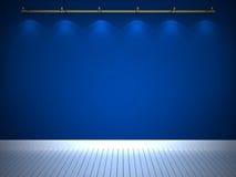 Parede azul iluminada, fundo Foto de Stock