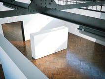 Parede branca no museu moderno rendição 3d Fotografia de Stock