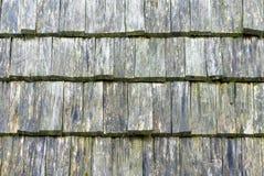 Parede coberta pela telha de madeira, textura imagens de stock