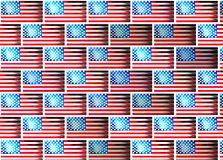 Parede com imagens da bandeira da textura de América ilustração stock