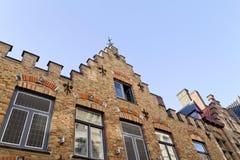 Parede da casa de Bruges Bélgica fotografia de stock