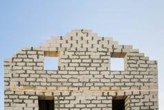 A parede da casa sob a construção Fotografia de Stock Royalty Free