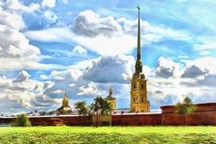 Parede da catedral e da fortaleza do Peter e do Paul Fortress em St Petersburg em Rússia ilustração royalty free