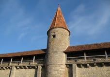 Parede da cidade com torre de vigia Imagens de Stock