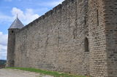 Parede da cidade de Carcassonne Imagens de Stock
