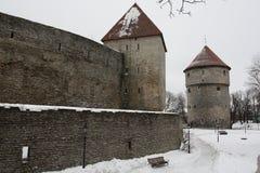 Parede da cidade de Tallinn na neve Estônia Fotos de Stock