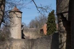 Parede da cidade do der Tauber do ob de Rothenburg, Alemanha Imagem de Stock