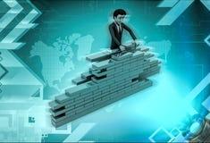 parede da construção de caráter 3d com tijolos Foto de Stock
