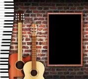 Parede da guitarra e do teclado Fotografia de Stock Royalty Free