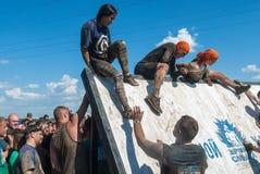 Parede da tempestade dos atletas na raça do extrim Tyumen Rússia Foto de Stock Royalty Free