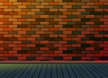 Parede da textura do fundo do teste padrão do tijolo com assoalho de madeira Foto de Stock